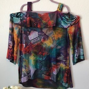 Nwt colorful cold shoulder Adore top